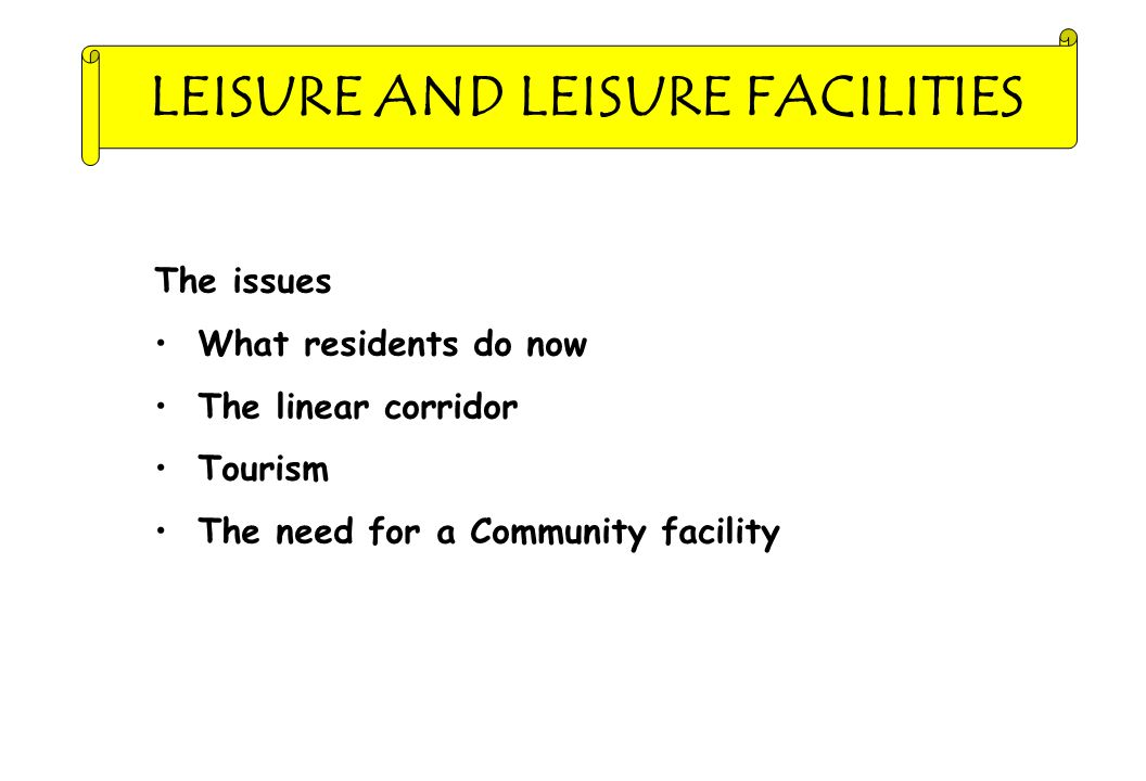 LEISURE AND LEISURE FACILITIES The issues What residents do now The linear corridor Tourism The need for a Community facility
