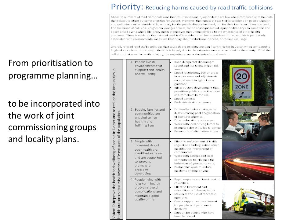 From prioritisation to programme planning… to be incorporated into the work of joint commissioning groups and locality plans.
