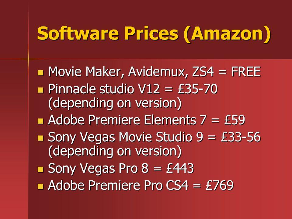 Software Prices (Amazon) Movie Maker, Avidemux, ZS4 = FREE Movie Maker, Avidemux, ZS4 = FREE Pinnacle studio V12 = £35-70 (depending on version) Pinna