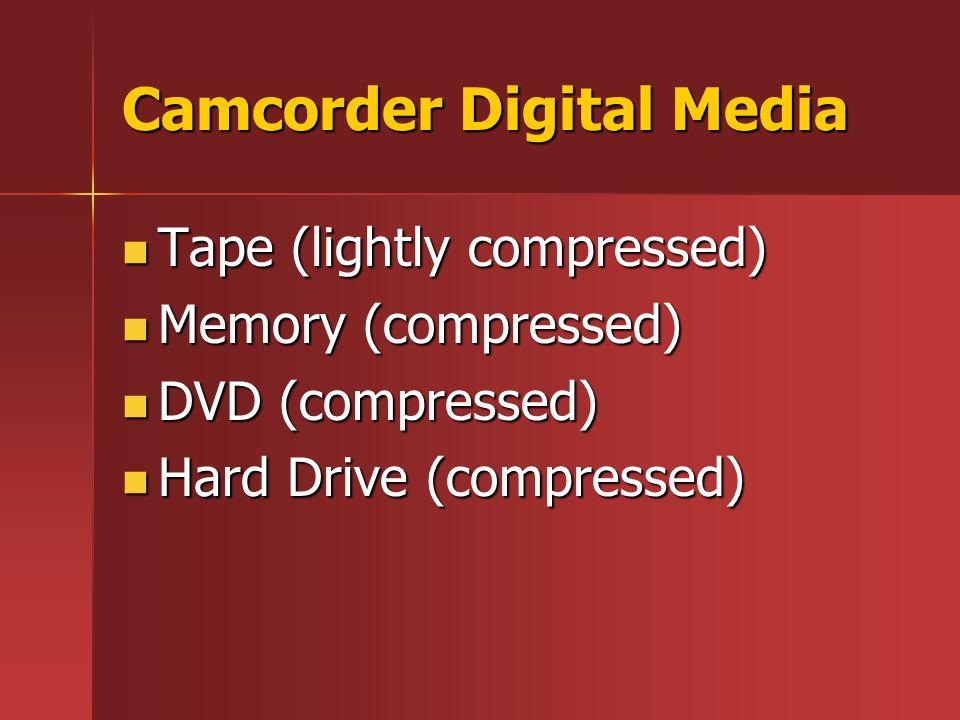 Camcorder Digital Media Tape (lightly compressed) Tape (lightly compressed) Memory (compressed) Memory (compressed) DVD (compressed) DVD (compressed)