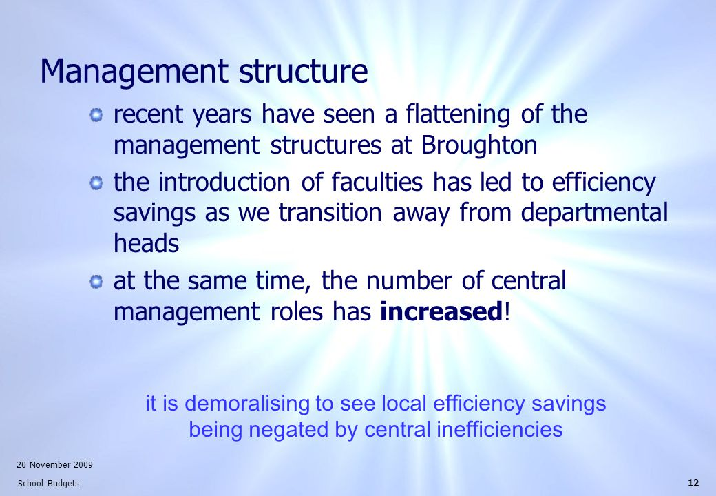 20 November 2009 School Budgets 12 Management structure recent years have seen a flattening of the management structures at Broughton the introduction of faculties has led to efficiency savings as we transition away from departmental heads at the same time, the number of central management roles has increased.