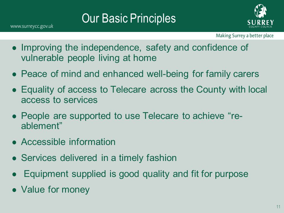 11 Our Basic Principles Improving the independence, safety and confidence of vulnerable people living at home Peace of mind and enhanced well-being fo