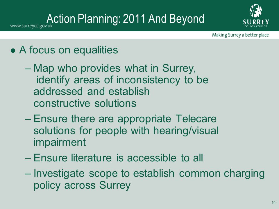 19 Action Planning: 2011 And Beyond A focus on equalities –Map who provides what in Surrey, identify areas of inconsistency to be addressed and establ