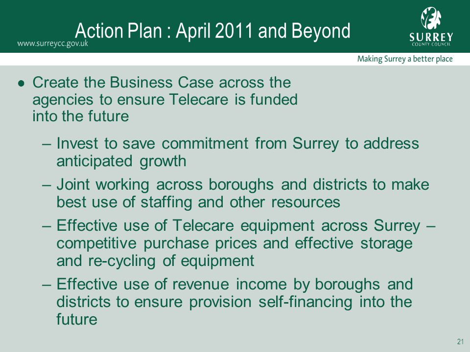 21 Action Plan : April 2011 and Beyond Create the Business Case across the agencies to ensure Telecare is funded into the future –Invest to save commi