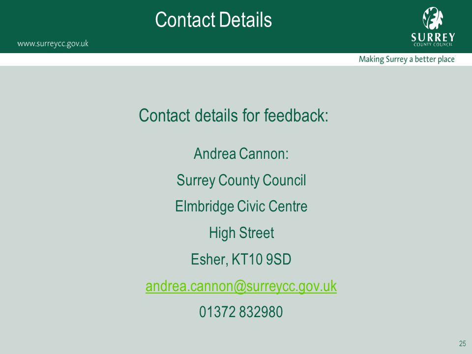 25 Contact Details Contact details for feedback: Andrea Cannon: Surrey County Council Elmbridge Civic Centre High Street Esher, KT10 9SD andrea.cannon