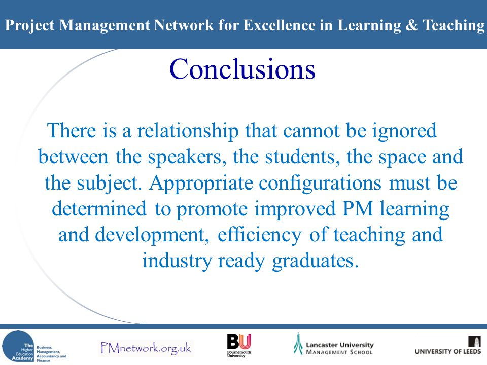 Project Management Network for Excellence in Learning & Teaching Conclusions There is a relationship that cannot be ignored between the speakers, the students, the space and the subject.