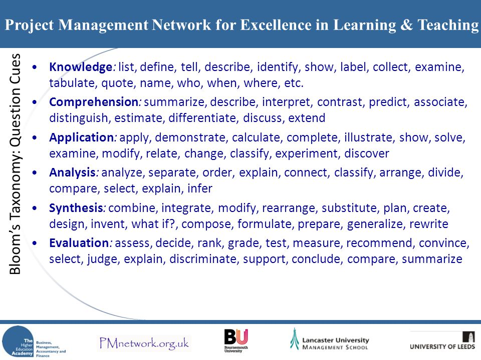 Project Management Network for Excellence in Learning & Teaching Knowledge: list, define, tell, describe, identify, show, label, collect, examine, tab