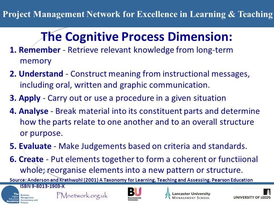 Project Management Network for Excellence in Learning & Teaching The Cognitive Process Dimension: 1. Remember - Retrieve relevant knowledge from long-