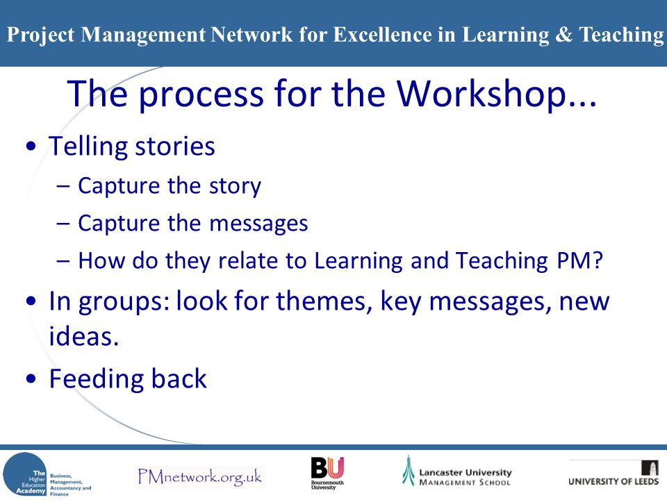 Project Management Network for Excellence in Learning & Teaching The process for the Workshop... Telling stories –Capture the story –Capture the messa