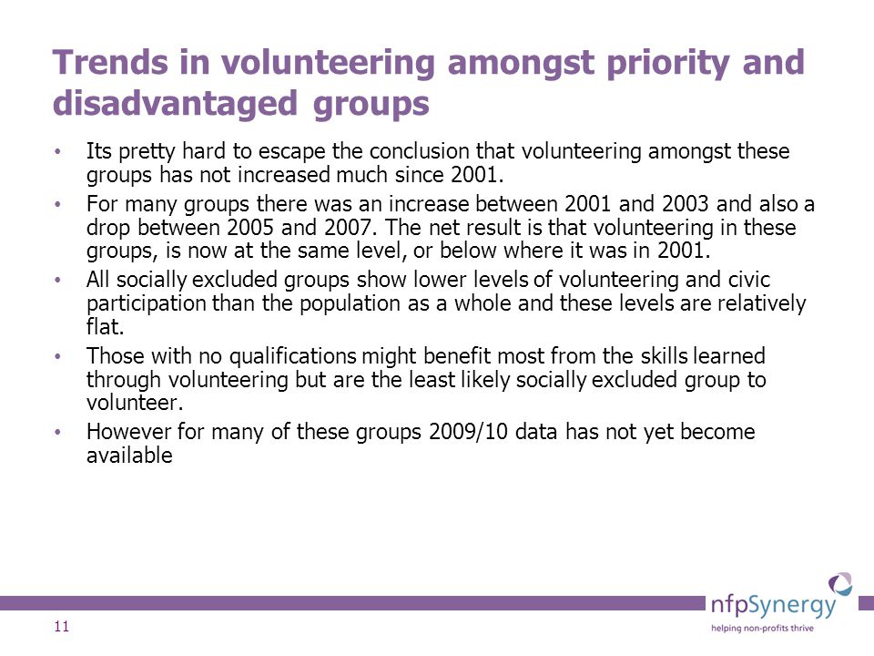 11 Trends in volunteering amongst priority and disadvantaged groups Its pretty hard to escape the conclusion that volunteering amongst these groups has not increased much since 2001.
