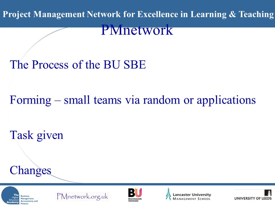 Project Management Network for Excellence in Learning & Teaching PMnetwork The Process of the BU SBE Forming – small teams via random or applications