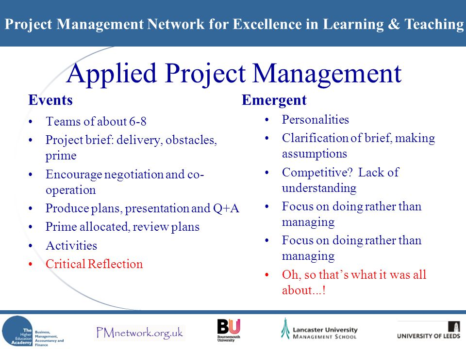 Project Management Network for Excellence in Learning & Teaching Applied Project Management Events Teams of about 6-8 Project brief: delivery, obstacl