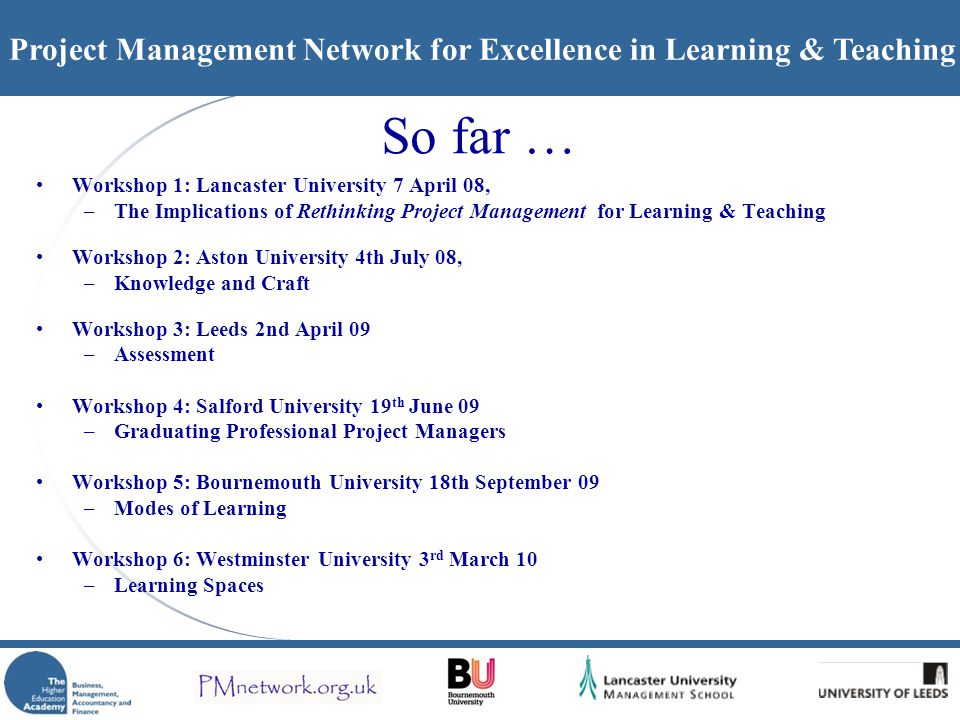 Project Management Network for Excellence in Learning & Teaching Outputs...
