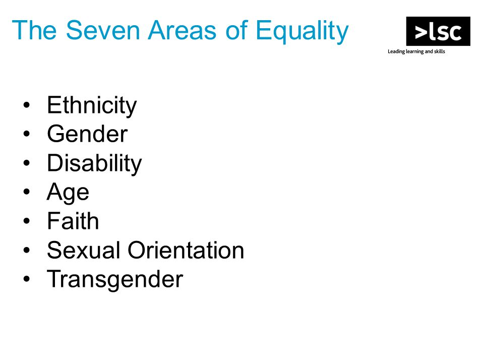 Ethnicity Gender Disability Age Faith Sexual Orientation Transgender The Seven Areas of Equality