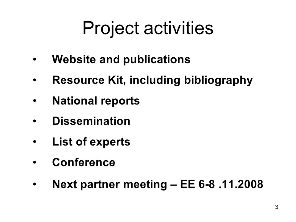 3 Project activities Website and publications Resource Kit, including bibliography National reports Dissemination List of experts Conference Next partner meeting – EE 6-8.11.2008