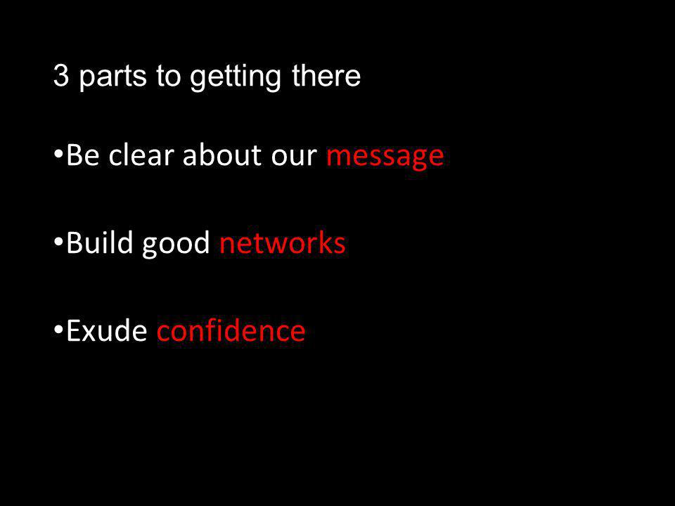 3 parts to getting there Be clear about our message Build good networks Exude confidence