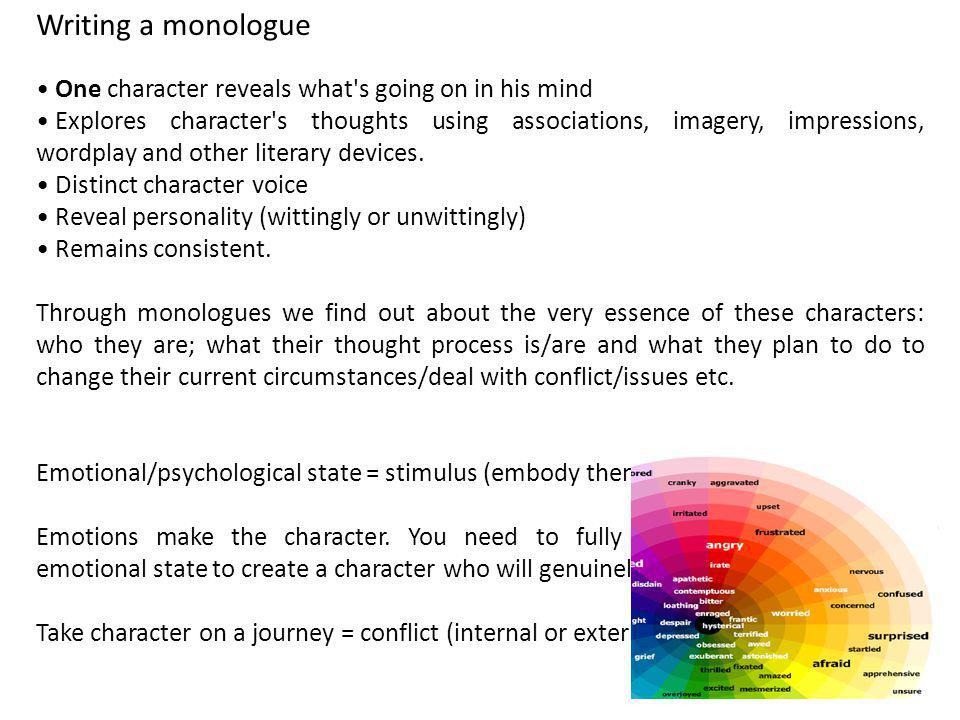 Writing a monologue One character reveals what's going on in his mind Explores character's thoughts using associations, imagery, impressions, wordplay
