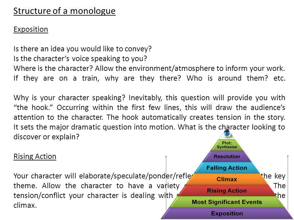 Structure of a monologue Exposition Is there an idea you would like to convey? Is the character's voice speaking to you? Where is the character? Allow