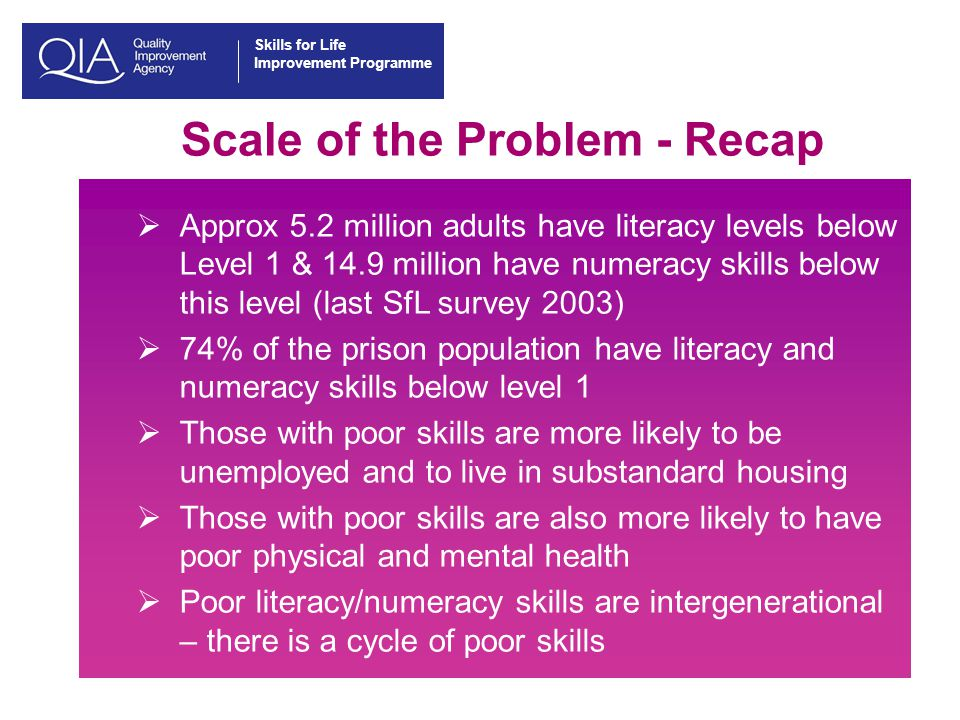 Skills for Life Improvement Programme Scale of the Problem - Recap  Approx 5.2 million adults have literacy levels below Level 1 & 14.9 million have numeracy skills below this level (last SfL survey 2003)  74% of the prison population have literacy and numeracy skills below level 1  Those with poor skills are more likely to be unemployed and to live in substandard housing  Those with poor skills are also more likely to have poor physical and mental health  Poor literacy/numeracy skills are intergenerational – there is a cycle of poor skills