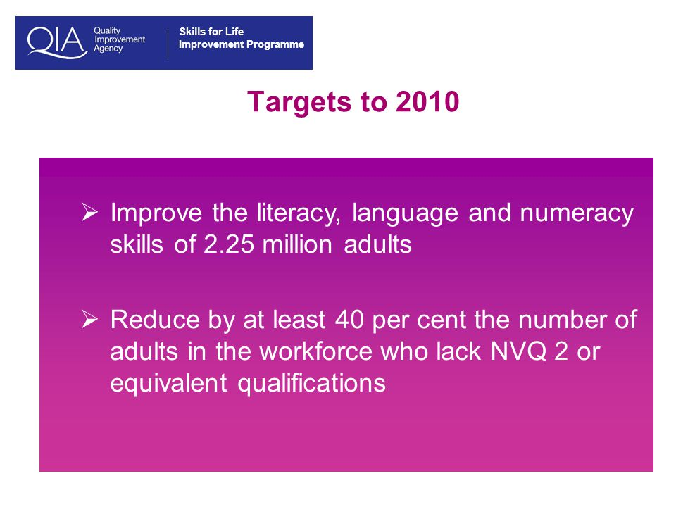Skills for Life Improvement Programme Achievements so far Since 2001:  4.7 million adults have started literacy, language and numeracy courses  Over 1.5 million learners have achieved Skills for Life qualifications (2007 target)  1,619 000 learners have achieved their first Skills for Life qualification (including 138,000 offenders)