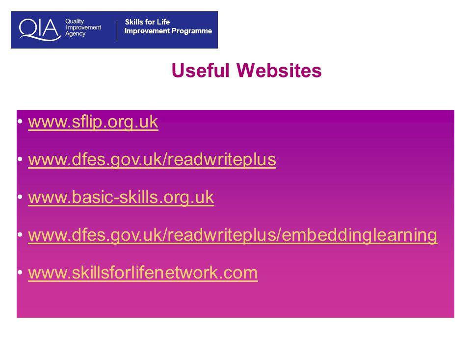 Skills for Life Improvement Programme Useful Websites www.sflip.org.uk www.dfes.gov.uk/readwriteplus www.basic-skills.org.uk www.dfes.gov.uk/readwriteplus/embeddinglearning www.skillsforlifenetwork.com