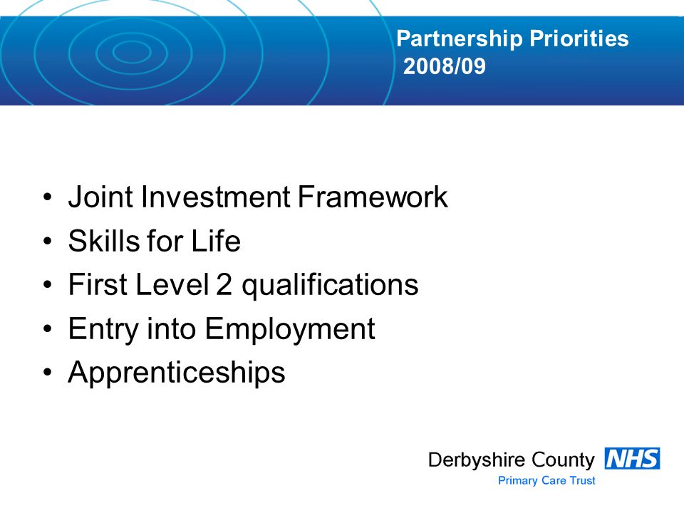 Joint Investment Framework Skills for Life First Level 2 qualifications Entry into Employment Apprenticeships Partnership Priorities 2008/09
