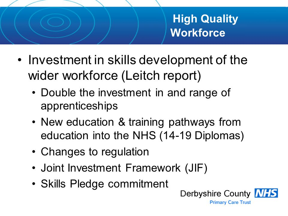 Investment in skills development of the wider workforce (Leitch report) Double the investment in and range of apprenticeships New education & training pathways from education into the NHS (14-19 Diplomas) Changes to regulation Joint Investment Framework (JIF) Skills Pledge commitment High Quality Workforce