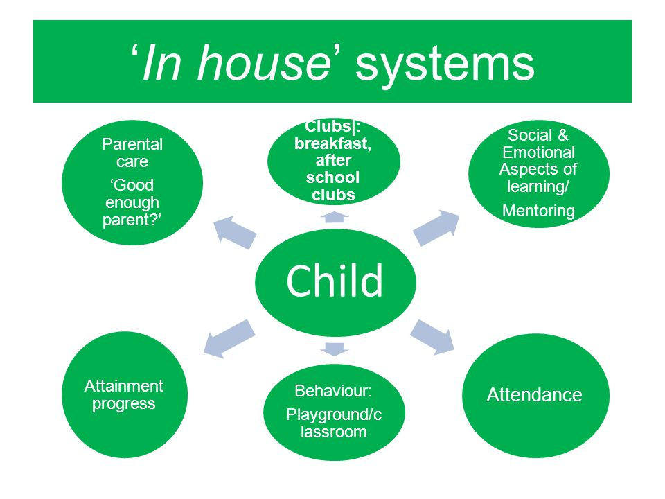 'In house' systems Child Clubs|: breakfast, after school clubs Social & Emotional Aspects of learning/ Mentoring Attendance Behaviour: Playground/c lassroom Attainment progress Parental care 'Good enough parent '