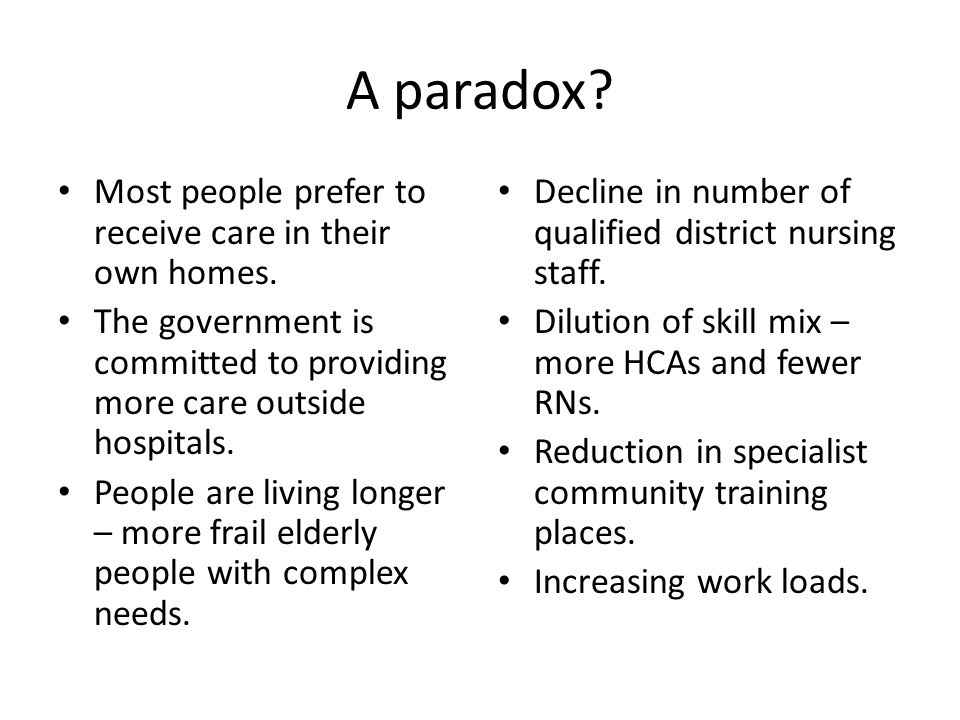 A paradox. Most people prefer to receive care in their own homes.