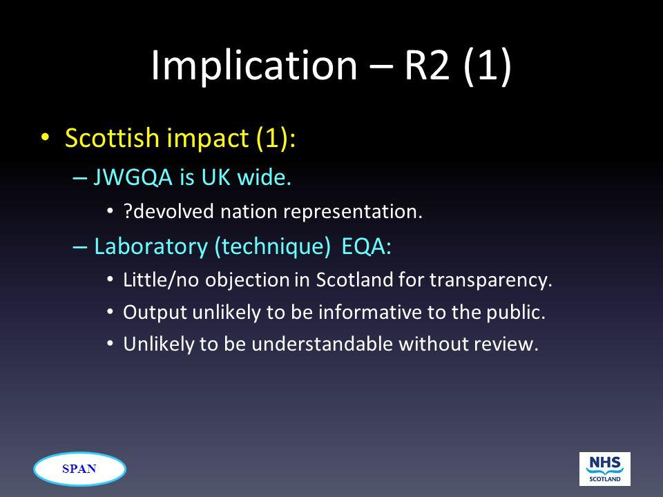SPAN Implication – R2 (1) Scottish impact (1): – JWGQA is UK wide.