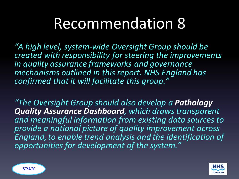 "SPAN Recommendation 8 ""A high level, system-wide Oversight Group should be created with responsibility for steering the improvements in quality assura"