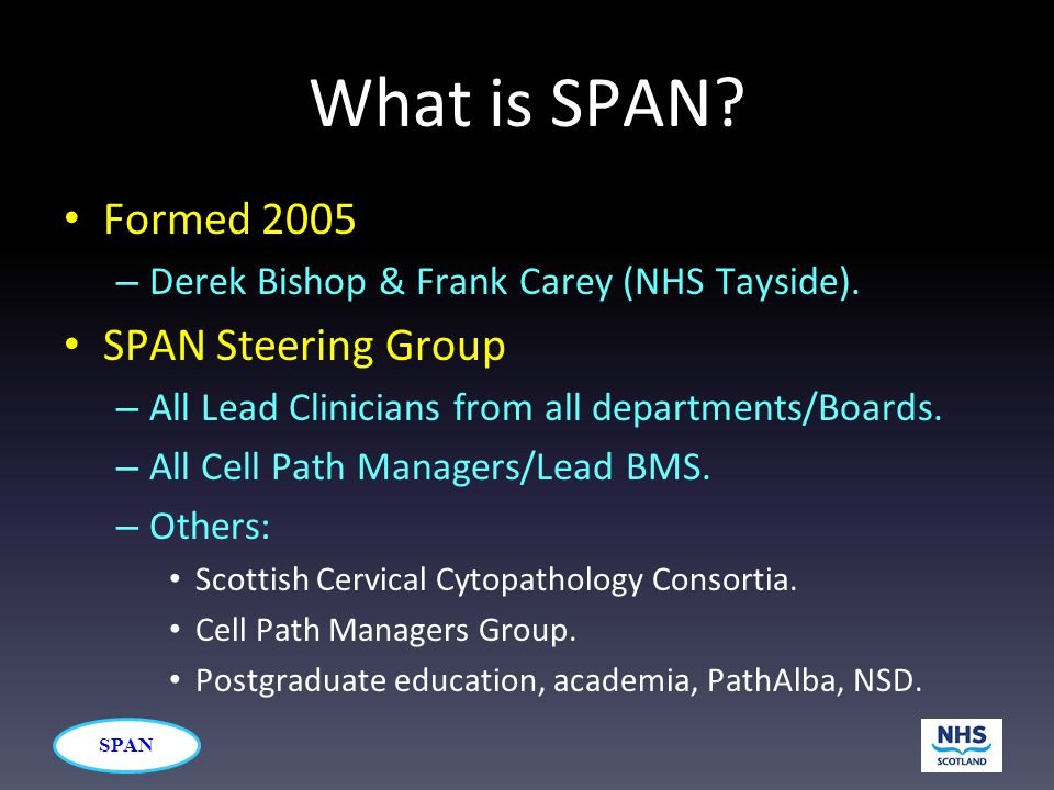 SPAN What is SPAN? Formed 2005 – Derek Bishop & Frank Carey (NHS Tayside). SPAN Steering Group – All Lead Clinicians from all departments/Boards. – Al