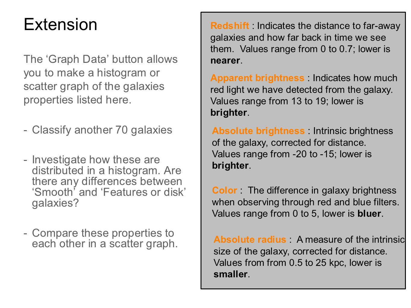 Extension The 'Graph Data' button allows you to make a histogram or scatter graph of the galaxies properties listed here. -Classify another 70 galaxie