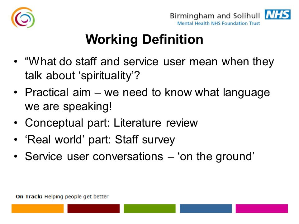 What do staff and service user mean when they talk about 'spirituality'.
