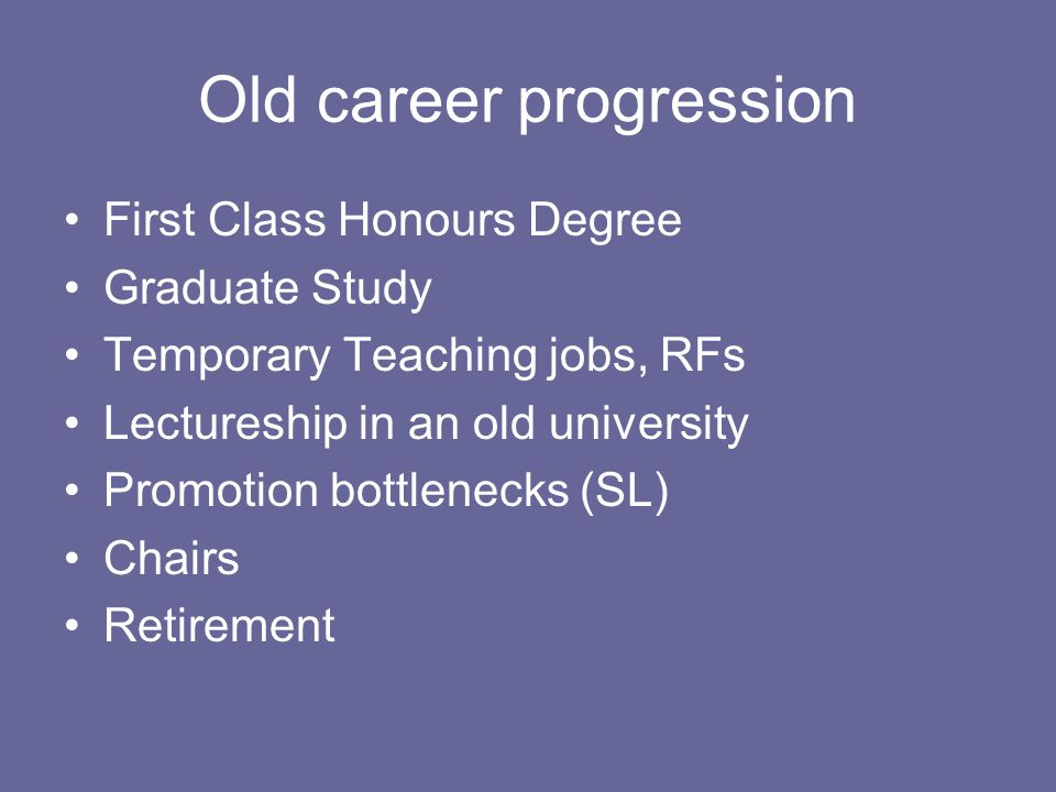 Old career progression First Class Honours Degree Graduate Study Temporary Teaching jobs, RFs Lectureship in an old university Promotion bottlenecks (SL) Chairs Retirement