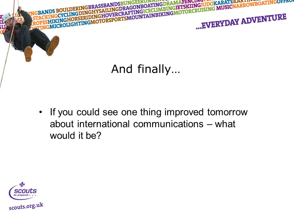 And finally… If you could see one thing improved tomorrow about international communications – what would it be