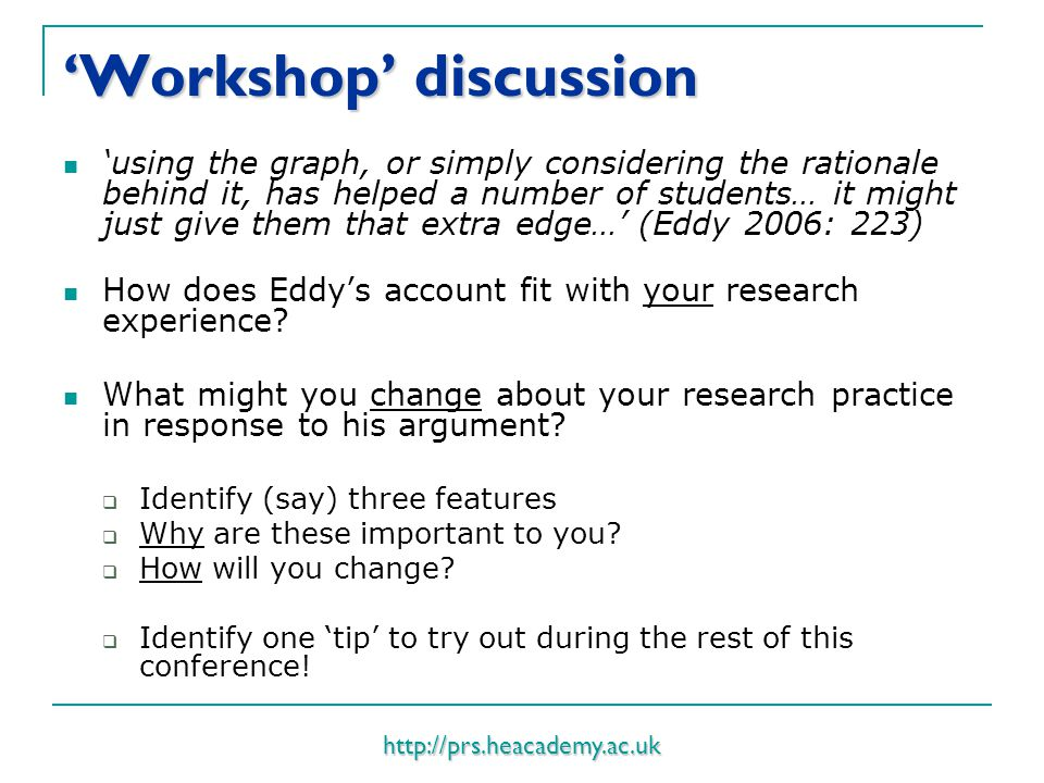 http://prs.heacademy.ac.uk 'Workshop' discussion 'using the graph, or simply considering the rationale behind it, has helped a number of students… it