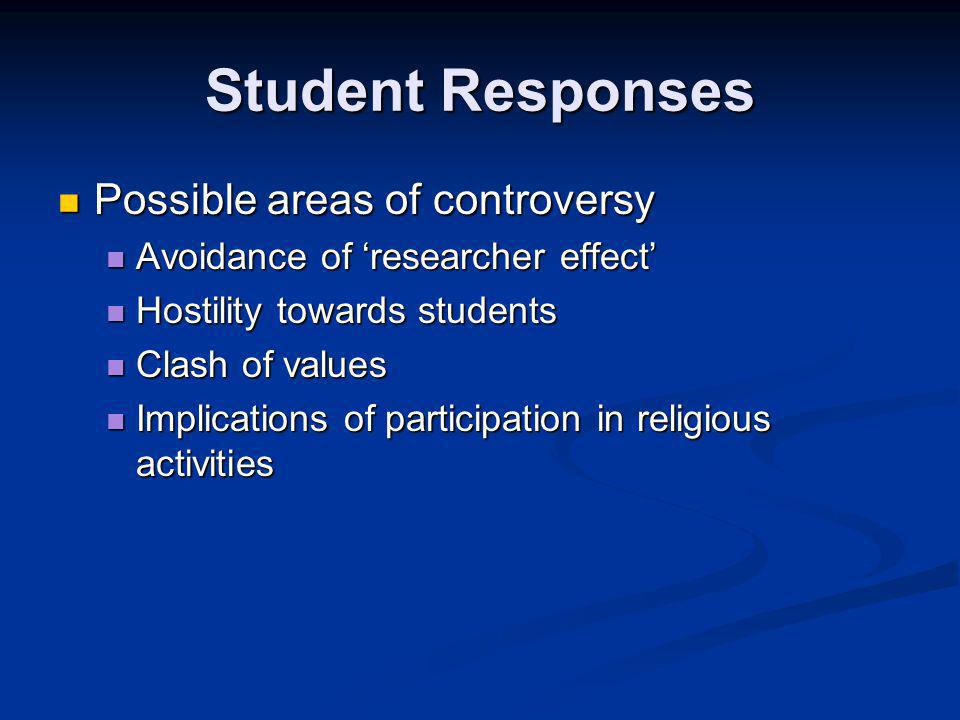 Student Responses Possible areas of controversy Possible areas of controversy Avoidance of 'researcher effect' Avoidance of 'researcher effect' Hostility towards students Hostility towards students Clash of values Clash of values Implications of participation in religious activities Implications of participation in religious activities