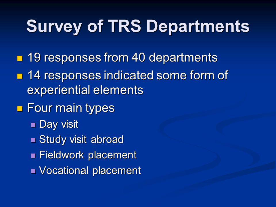Survey of TRS Departments 19 responses from 40 departments 19 responses from 40 departments 14 responses indicated some form of experiential elements 14 responses indicated some form of experiential elements Four main types Four main types Day visit Day visit Study visit abroad Study visit abroad Fieldwork placement Fieldwork placement Vocational placement Vocational placement