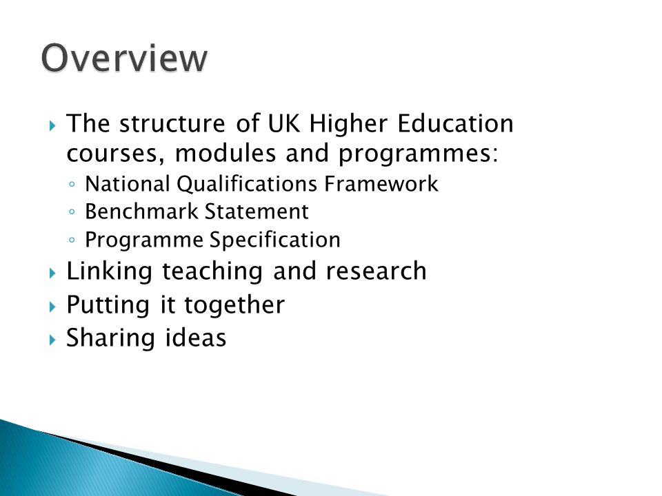  The structure of UK Higher Education courses, modules and programmes: ◦ National Qualifications Framework ◦ Benchmark Statement ◦ Programme Specific