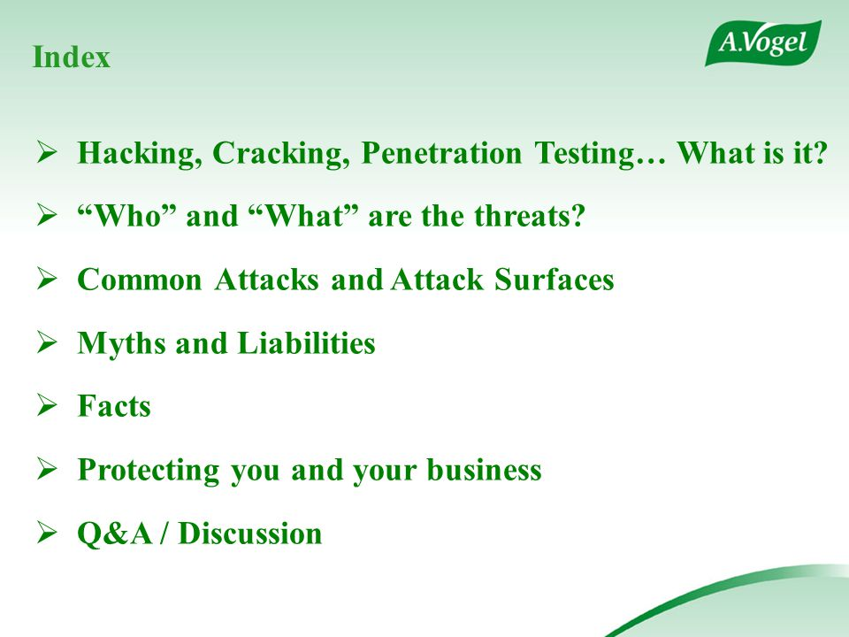 Index  Hacking, Cracking, Penetration Testing… What is it.