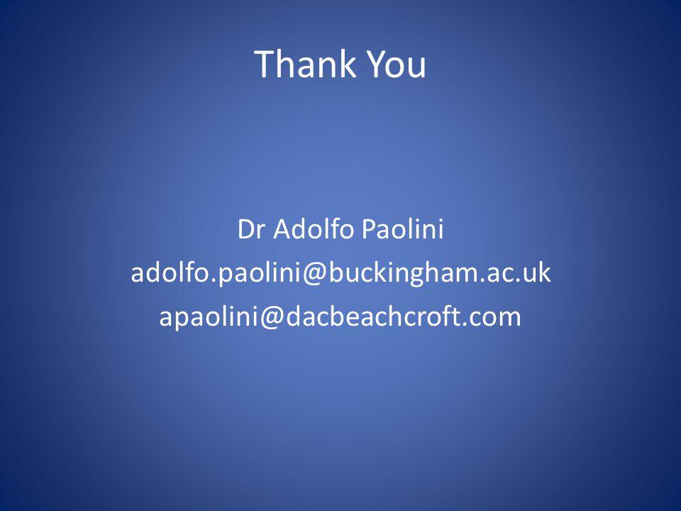 Thank You Dr Adolfo Paolini adolfo.paolini@buckingham.ac.uk apaolini@dacbeachcroft.com