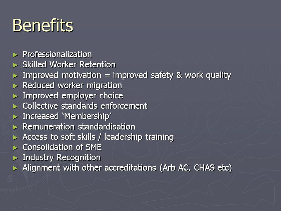 Benefits ► Professionalization ► Skilled Worker Retention ► Improved motivation = improved safety & work quality ► Reduced worker migration ► Improved employer choice ► Collective standards enforcement ► Increased 'Membership' ► Remuneration standardisation ► Access to soft skills / leadership training ► Consolidation of SME ► Industry Recognition ► Alignment with other accreditations (Arb AC, CHAS etc)