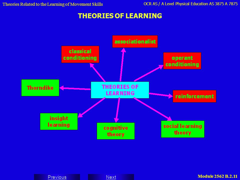 OCR AS / A Level Physical Education AS 3875 A 7875 Next Previous Module 2562 B.2.11 THEORIES OF LEARNING Theories Related to the Learning of Movement