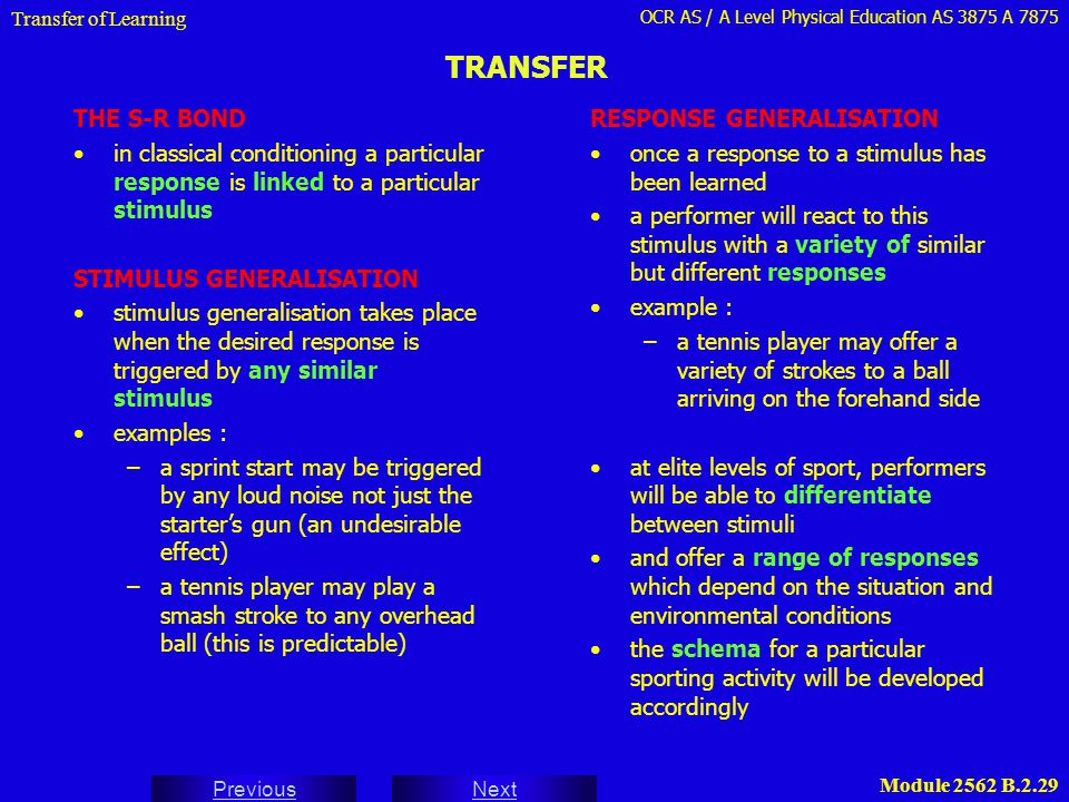 OCR AS / A Level Physical Education AS 3875 A 7875 Next Previous Module 2562 B.2.29 TRANSFER Transfer of Learning THE S-R BOND in classical conditioni