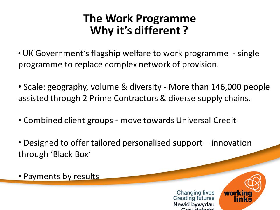 The Work Programme Why it's different .