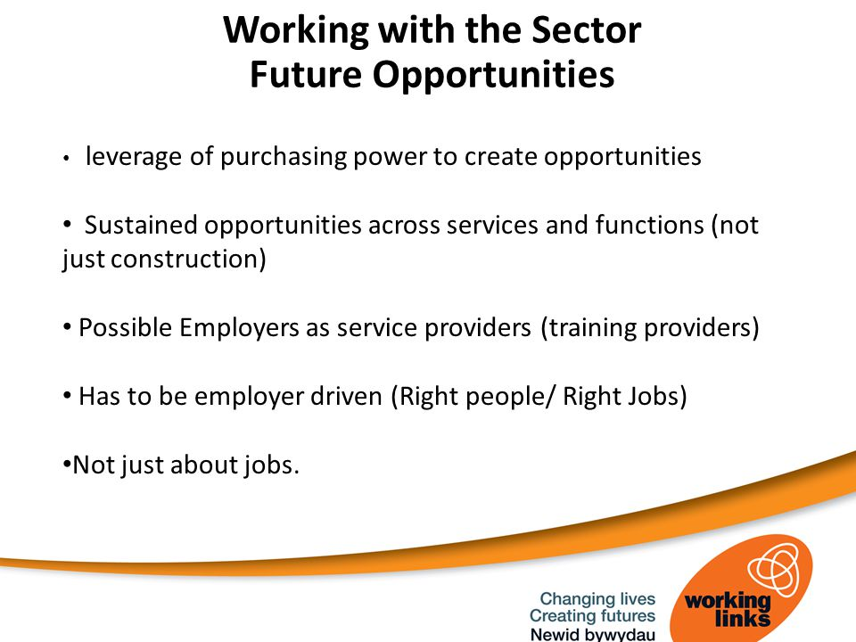Working with the Sector Future Opportunities leverage of purchasing power to create opportunities Sustained opportunities across services and functions (not just construction) Possible Employers as service providers (training providers) Has to be employer driven (Right people/ Right Jobs) Not just about jobs.