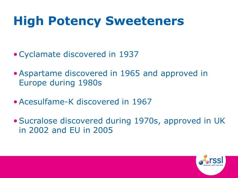 Cyclamate discovered in 1937 Aspartame discovered in 1965 and approved in Europe during 1980s Acesulfame-K discovered in 1967 Sucralose discovered dur