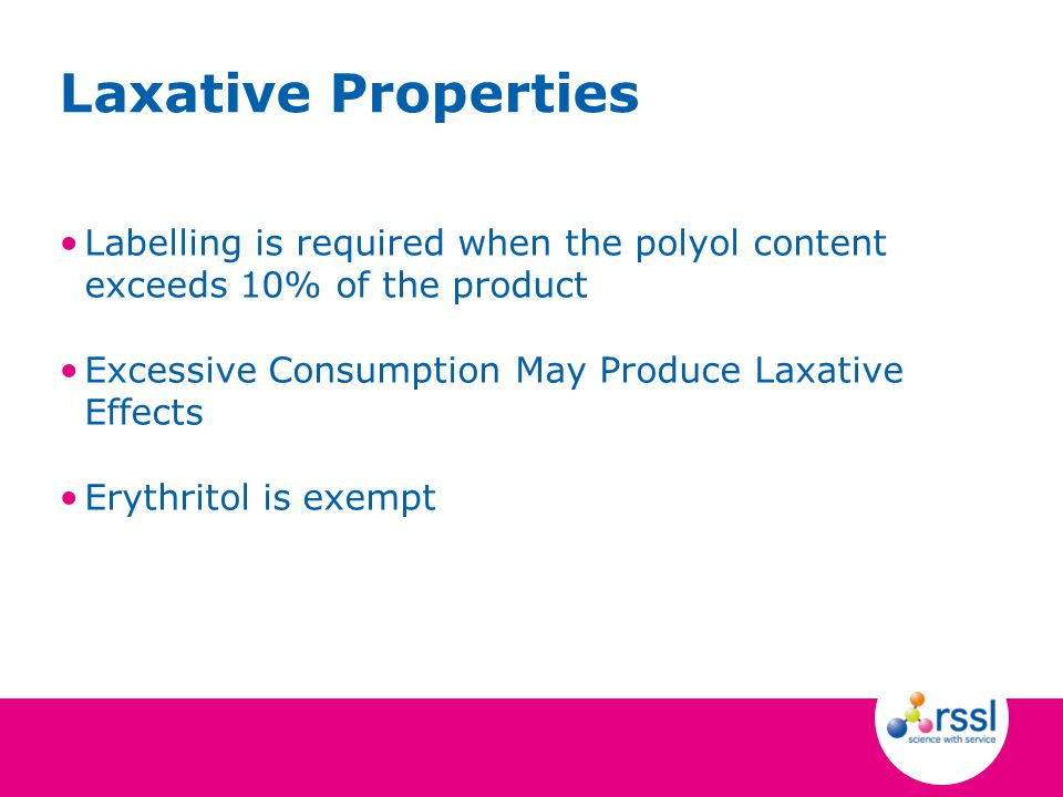 Labelling is required when the polyol content exceeds 10% of the product Excessive Consumption May Produce Laxative Effects Erythritol is exempt Laxat
