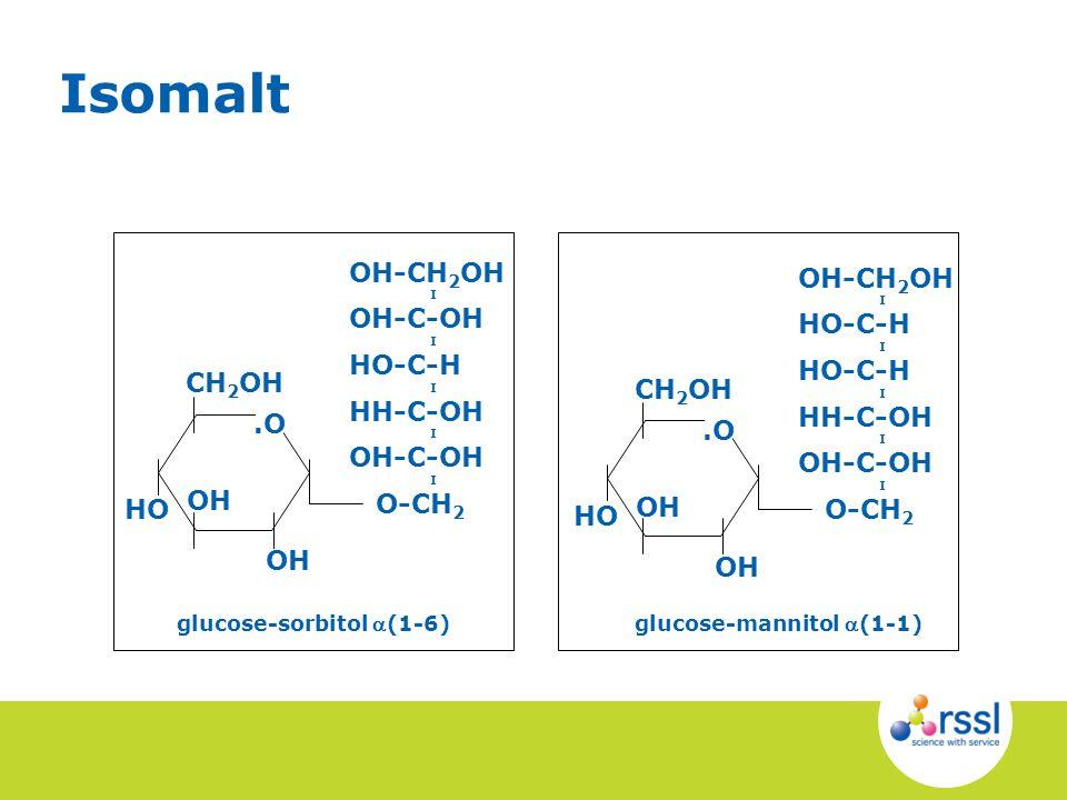 OH-CH 2 OH I OH-C-OH I HO-C-H I HH-C-OH I OH-C-OH I O-CH 2 CH 2 OH OH HO.O OH glucose-sorbitol (1-6)glucose-mannitol (1-1) OH-CH 2 OH I HO-C-H I HO-C-H I HH-C-OH I OH-C-OH I O-CH 2 CH 2 OH OH HO.O OH